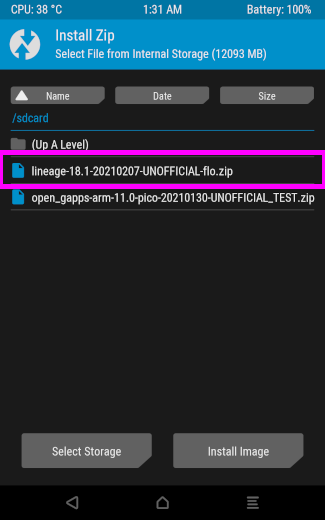 lineage-18.1-20210207-UNOFFICIAL-flo.zip を選択