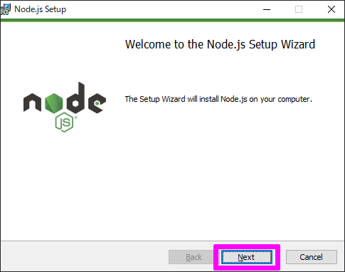 Welcome to the Node.js Setup Wizard