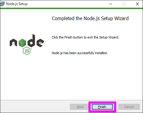 Completed the Node.js Setup Wizard