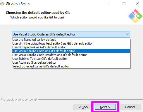 Choosing the default editor used by Git
